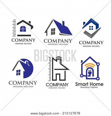modern house and real estate logo set creative vector