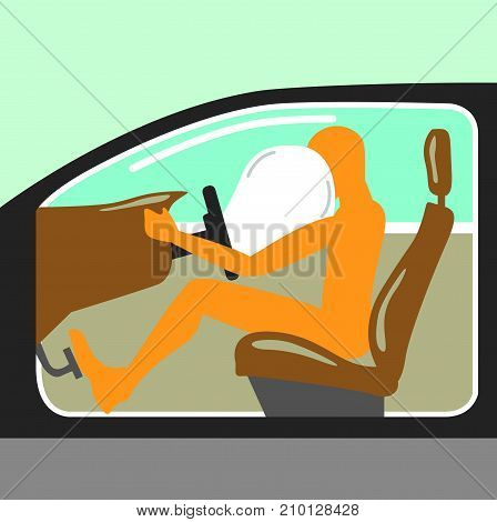 Airbag Person In The Car No Seat Belt Vector Illustration