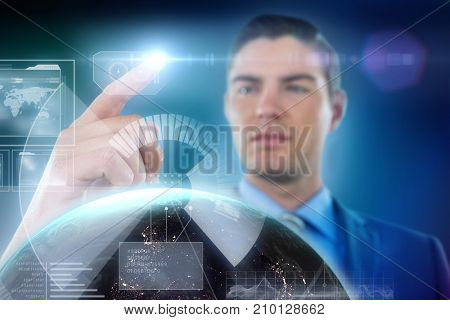 Businessman touching digital screen against blue background with vignette