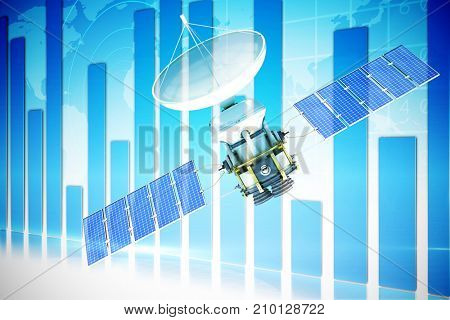 3d image of blue solar power satellite against global business graphic in blue