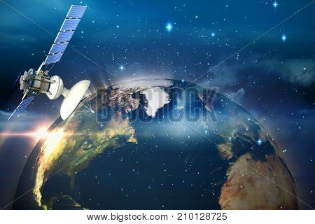 3d illustration of solar satellite against glowing earth
