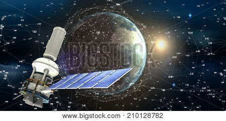 Low angle view of3d modern solar power satellite against satellite view of earth and sun
