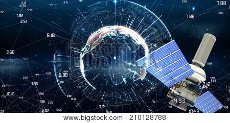 3d image of modern solar power satellite against white background against image of earth with different times