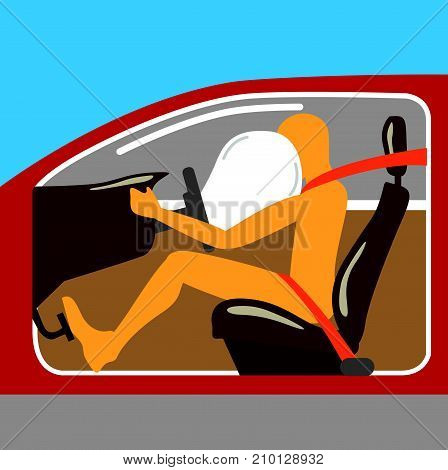 Airbag Vector Image Illustration Seat Belt Person In The Car Crash