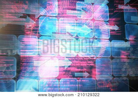 Composite image of face against blue squares and arrows on black background