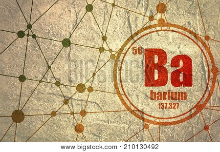 Barium chemical element. Sign with atomic number and atomic weight. Chemical element of periodic table. Molecule And Communication Background. Connected lines with dots. Distress grunge texture
