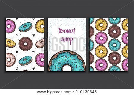 Poster vector template with donuts. Advertising for bakery shop or cafe. Coffee house menu background.