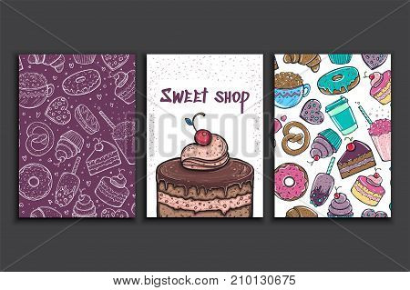 Poster vector template with a pie. Advertising for bakery shop or cafe. Sweet candy background.