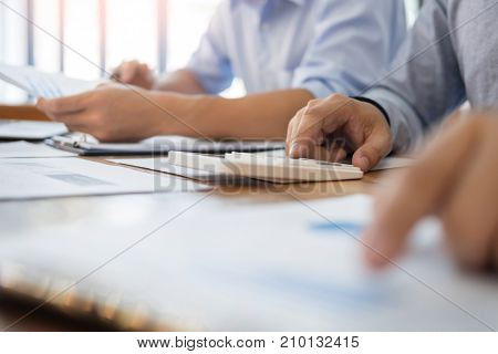 Administrator Business Man Financial Inspector And Secretary Making Report, Calculating Balance. Int