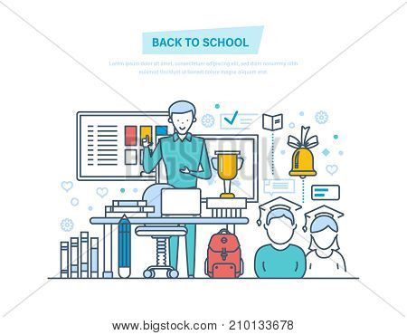 Back to school. Distance education, e-learning. Online courses, school building. Teaching on lesson in classroom. Welcome back to school, university. Illustration thin line design of vector doodles.
