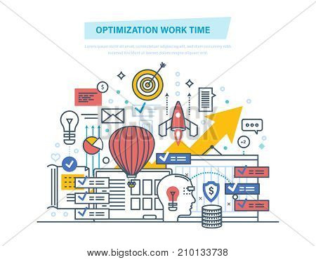 Optimization work time. Time management, organization of working plan, planning job day, work process control, routine management, communications. Illustration thin line design of vector doodles.