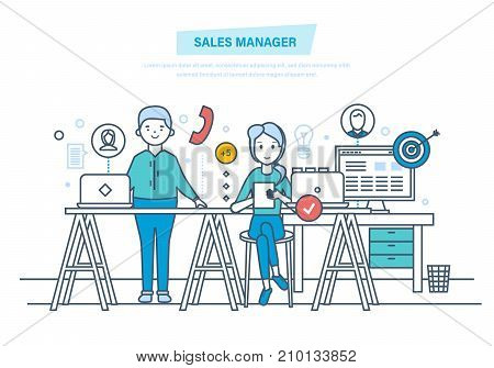 Sales manager. Financial growth, methods to increase revenue, performance indicators. Market research, b2b, sales. Consultation on phone manager, call. Illustration thin line design of vector doodles.