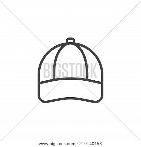 Baseball cap line icon, outline vector sign, linear style pictogram isolated on white. Symbol, logo illustration. Editable stroke