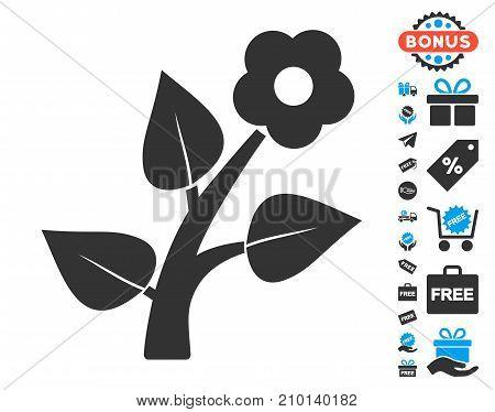 Flower Plant icon with free bonus images. Vector illustration style is flat iconic symbols.