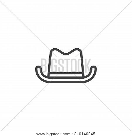 Cowboy hat line icon, outline vector sign, linear style pictogram isolated on white. Symbol, logo illustration. Editable stroke