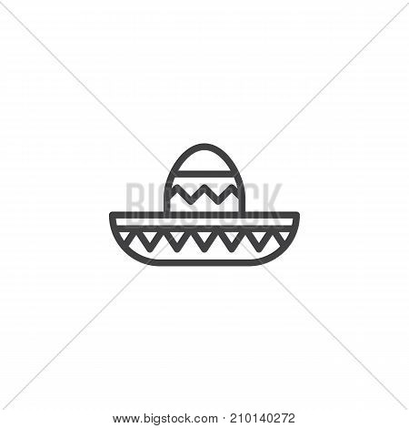 Mariachi hat line icon, outline vector sign, linear style pictogram isolated on white. Symbol, logo illustration. Editable stroke