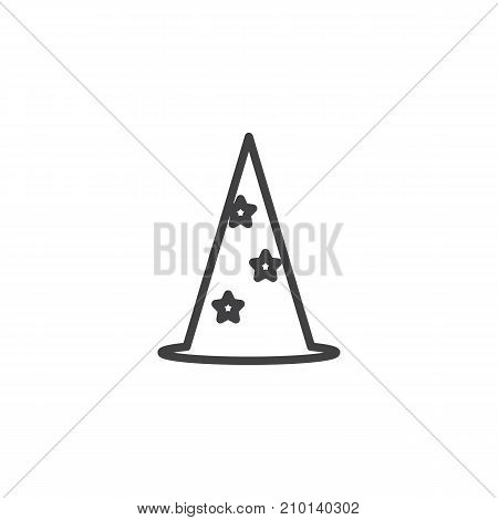 Wizard hat line icon, outline vector sign, linear style pictogram isolated on white. Party symbol, logo illustration. Editable stroke