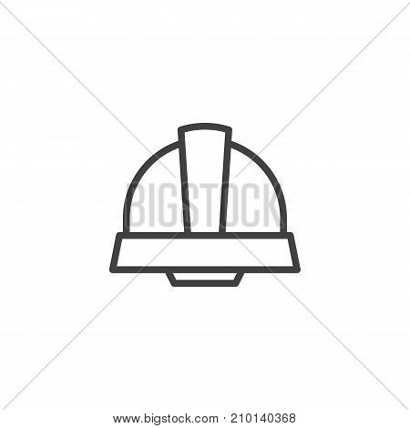 Safety helmet line icon, outline vector sign, linear style pictogram isolated on white. Safety symbol, logo illustration. Editable stroke