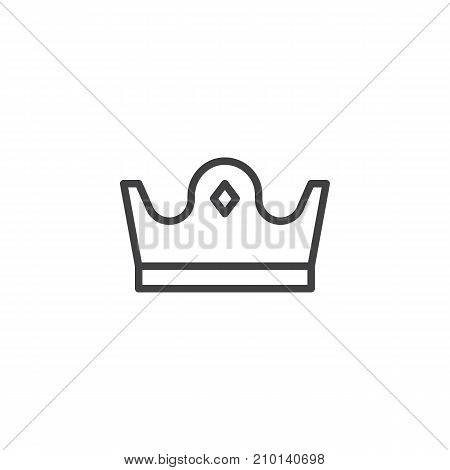 Royal crown line icon, outline vector sign, linear style pictogram isolated on white. Symbol, logo illustration. Editable stroke