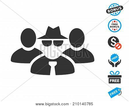 Mafia People Group icon with free bonus symbols. Vector illustration style is flat iconic symbols.