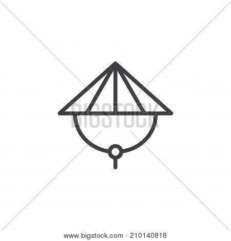 Bamboo hat line icon, outline vector sign, linear style pictogram isolated on white. Symbol, logo illustration. Editable stroke