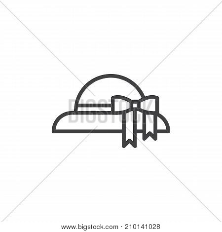 Woman hat line icon, outline vector sign, linear style pictogram isolated on white. Symbol, logo illustration. Editable stroke