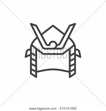 Samurai helmet line icon, outline vector sign, linear style pictogram isolated on white. Symbol, logo illustration. Editable stroke