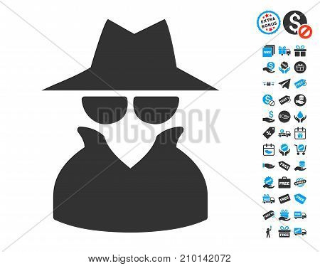 Spy icon with free bonus pictograms. Vector illustration style is flat iconic symbols.