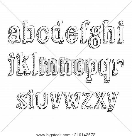 Small letters hand drawn on a white background.. Vector illustration, EPS 10