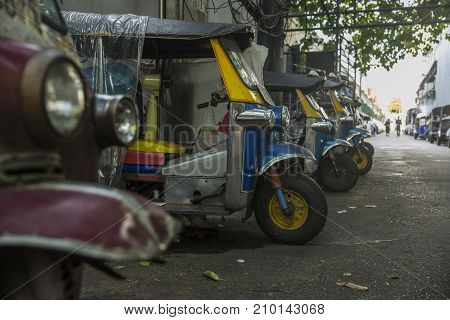 Bangkok Thailand - October 20 2017: Thailand native taxi call tuk-tuk park in row