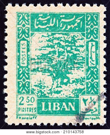 LEBANON - CIRCA 1947: A stamp printed in Lebanon shows Cedar of Lebanon, circa 1947.