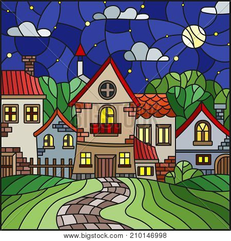 Illustration in stained glass style urban landscaperoofs and trees against the starry sky and moon