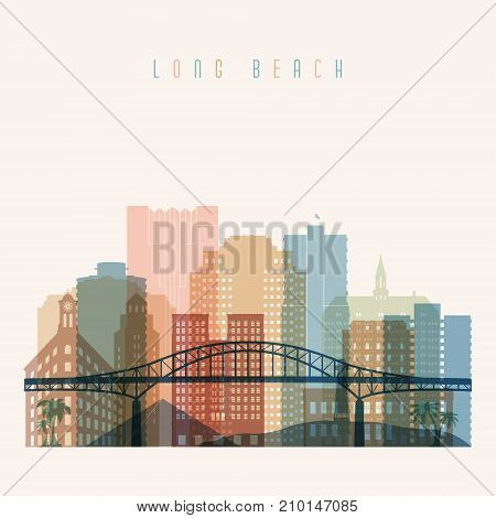 Long Beach state California skyline detailed silhouette. Transparent style. Trendy vector illustration.
