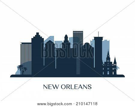 New Orleans skyline monochrome silhouette. Vector illustration.