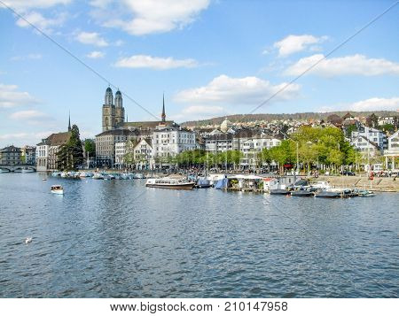 riparian scenery of Zurich the largest city in Switzerland