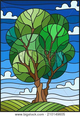Illustration in stained glass style with tree on sky background