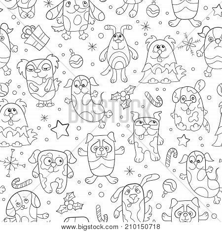 Seamless pattern on the theme of new year and Christmas funny cartoon dogs dark outline on a light background