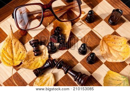 Autumn Still Life On A Chessboard: Chess, Yellow Leaves, Glasses