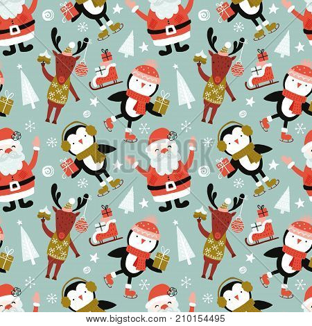 Holiday And Christmas Hand Drawing Seamless Pattern