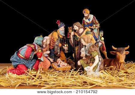 Traditional Christmas nativity scene with Mary and Joseph and baby Jesus