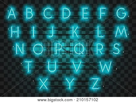 Turquoise neon character font set on purple background, vector illustration. Realistic neon character typeset.