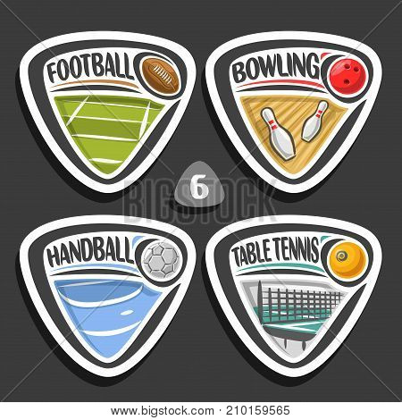 Vector set of sport logo, 4 triangle simple badges with ball, sports signs of minimal design with game equipment for sporting club or school, original type for title words of different kind of sport