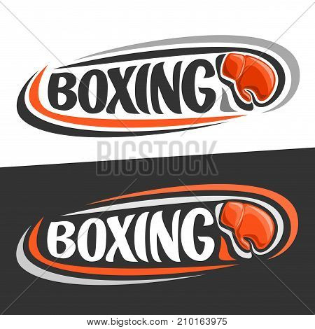 Vector logo for Boxing sport, flying on trajectory red boxing glove and handwritten word - boxing on black background, curved lines around original font for text - boxing on white, sports decoration.