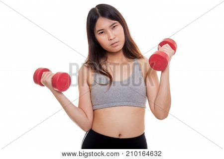 Tired Asian Healthy Girl Exercise With Dumbbell.