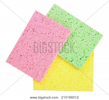 cleaning sponge for household isolated on white background.