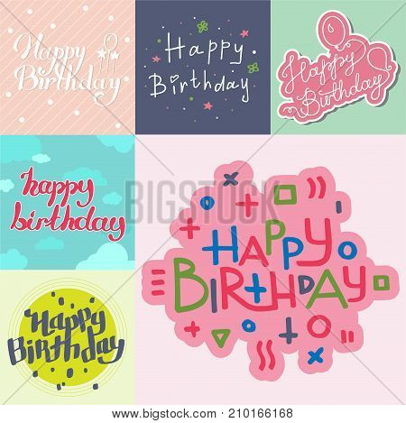 Beautiful birthday invitation card design colorful lettering poctcard vector greeting decoration strips lettering. Calligraphy text for party festive cartoon poster and celebrate present banner.