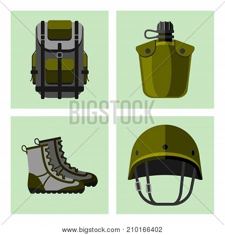 Military weapon guns symbols armor forces cards design american fighter ammunition navy camouflage vector illustration. Uniform battle sniper automatic special tools.