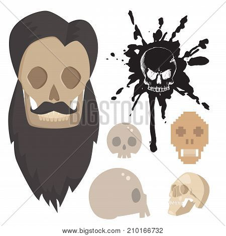 Different style skulls faces vector illustration halloween horror style tattoo anatomy art. Cartoon decoration gothic human skeleton symbol. Collection graphic sketch spooky vintage sign.