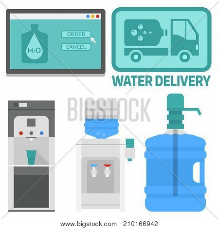 Water delivery design elements. Drink bottle plastic blue container business service. Mineral liquid worker job industry. Fresh cooler big clean pure beverage vector.