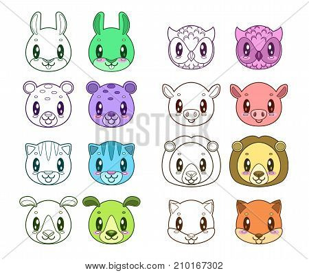 Funny animal faces. Outline and colored icons. Coloring book elements for kids.